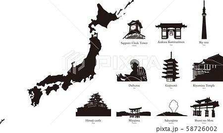 日本の観光地をイメージしたシルエット。シンプルなタイトル 素材  ベクター 58726002