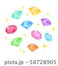 丸く散らばった宝石イラスト_キラキラ 58728905