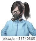 ガスマスクを着用した作業着の女性 58740385