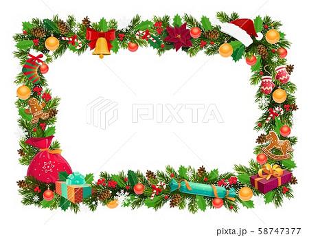 Frame, Christmas decor, Xmas tree branches 58747377