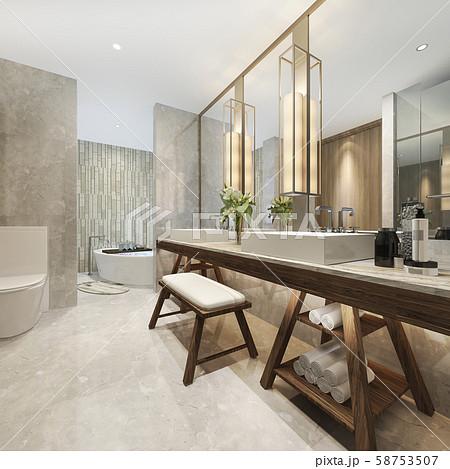 3d rendering modern bathroom with luxury tile decor  58753507