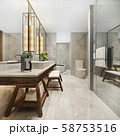 3d rendering modern bathroom with luxury tile decor  58753516