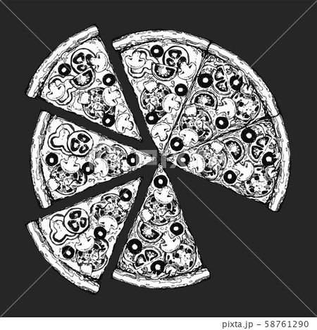 Pizza slice drawing. Hand drawn pizza illustration. Great for menu, poster or label. 58761290