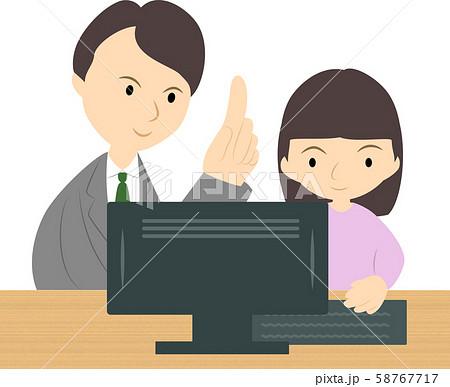 プログラミング教室で学ぶ女の子(男性講師) 58767717