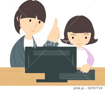 プログラミング教室で学ぶ女の子(女性講師) 58767718
