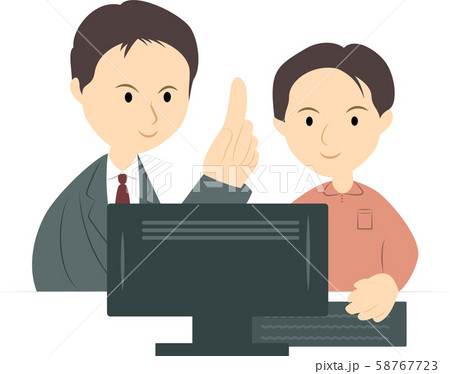 パソコン教室で学ぶ男性(男性講師) 58767723
