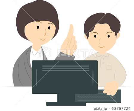 パソコン教室で学ぶ男性(女性講師) 58767724