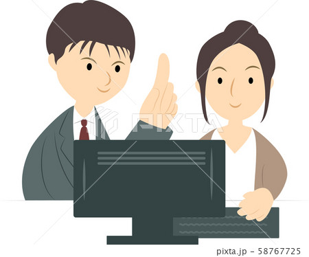 パソコン教室で学ぶ女性(男性講師) 58767725