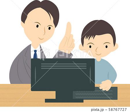 プログラミング教室で学ぶ男の子(男性講師) 58767727