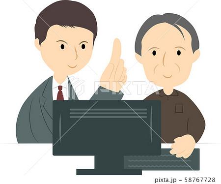 パソコン教室で学ぶシニア男性(男性講師) 58767728