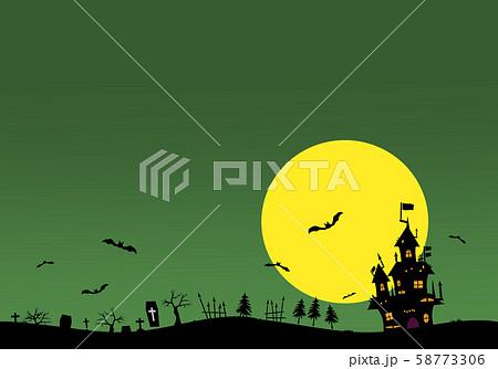 ハロウィンの背景素材. 城、コウモリ、墓。 58773306