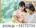 タブレット端末を操作する親子 母子 シニア女性 ミドル女性 2人 58775734