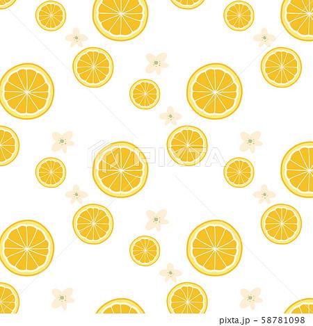 輪切りしたオレンジと花のパターン壁紙のイラスト素材