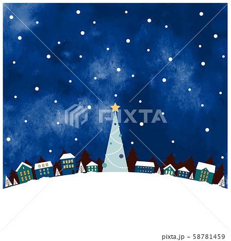 クリスマスの街並み ブルー 水彩風 58781459