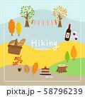 ハイキンググッズのフレーム 背景に山 秋 58796239