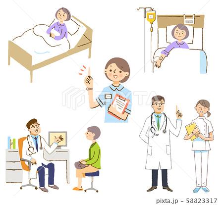 病院イメージ 医者と患者セット 58823317