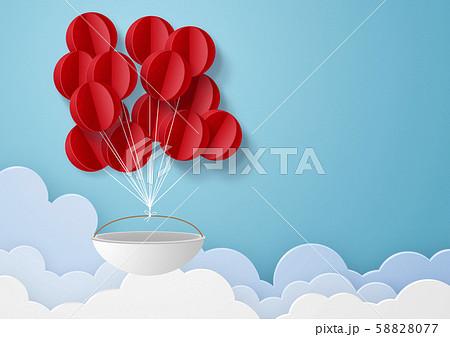 ペーパークラフト-空-雲-気球 58828077