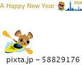 年賀状2020 ネズミ オリンピック カヌー 英文 58829176