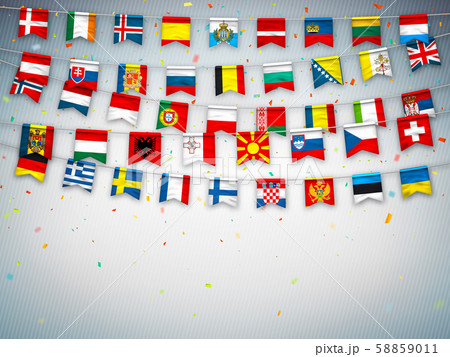 Garlands flags of different countries of europe 58859011