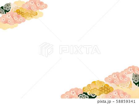 背景素材-桜と雲柄す-3テク 58859341