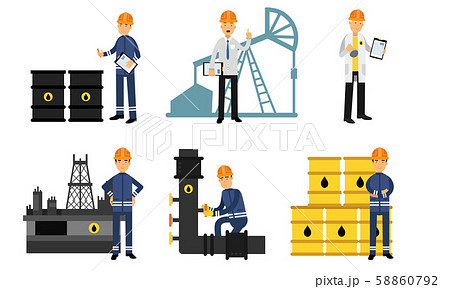 The Oil Industry At Different Stages Of Manufacture From Production To Transportation Vector 58860792