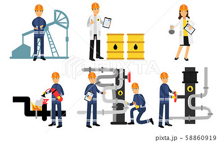 Characters Of Workers In The Oil Industry At Different Stages Of Production Vector Illustration Set 58860919