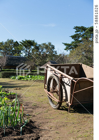 畑に置かれた荷車 58861026