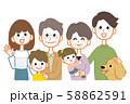 三世代家族 集合 ペット 上半身 58862591