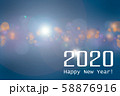 happy new year 2020 and bokeh lights for New year banner, poster 58876916