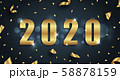 Golden Greeting Background for Happy New Year 2020 with Confetti 58878159