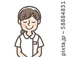 白衣女性 シンプルナース おじぎ 58884831