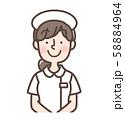 白衣女性 シンプルナース キャップあり 直立 58884964