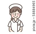 白衣女性 シンプルナース キャップあり おじぎ 58884965