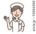 白衣女性 シンプルナース キャップあり 案内 58884966
