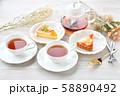 紅茶とフルーツタルトのティータイム(お茶)のイメージ。 58890492
