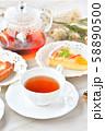 紅茶とフルーツタルトのティータイム(お茶)のイメージ。 58890500
