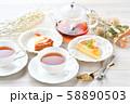 紅茶とフルーツタルトのティータイム(お茶)のイメージ。 58890503