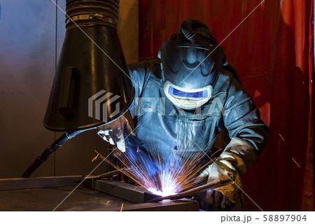 Industrial steel welder in factory welder, 58897904