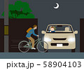 無灯火自転車と自動車の出会い頭事故の危険.ベクター素材 58904103