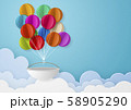 ペーパークラフト-空-雲-気球 58905290