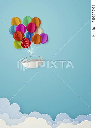 ペーパークラフト-空-雲-気球 58905291