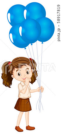One happy girl with blue balloons 58917819