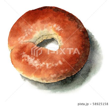水彩で描いたプレーンベーグルパン 58925158