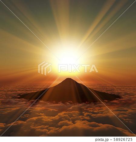 富士山の日の出 58926725