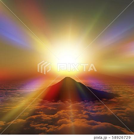 富士山の日の出 58926729