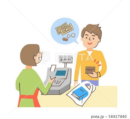 レジで現金で支払う男性 58927880