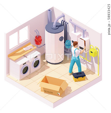 Vector isometric technician on water heater or boiler installation 58933425