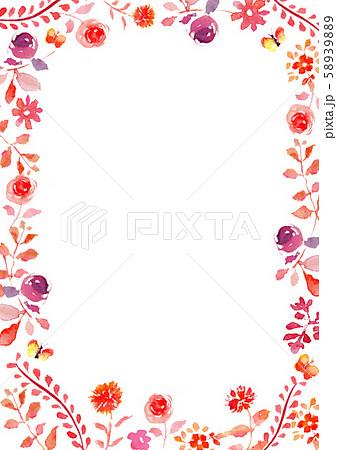 イラスト 花 フレーム 水彩 背景 58939889