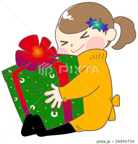 クリスマスプレゼントに大喜びする女の子のイラスト 58940750