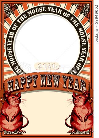 2020年賀状テンプレート「アートポスター風フォトフレーム」賀詞スペース&手書き文字用スペース空き